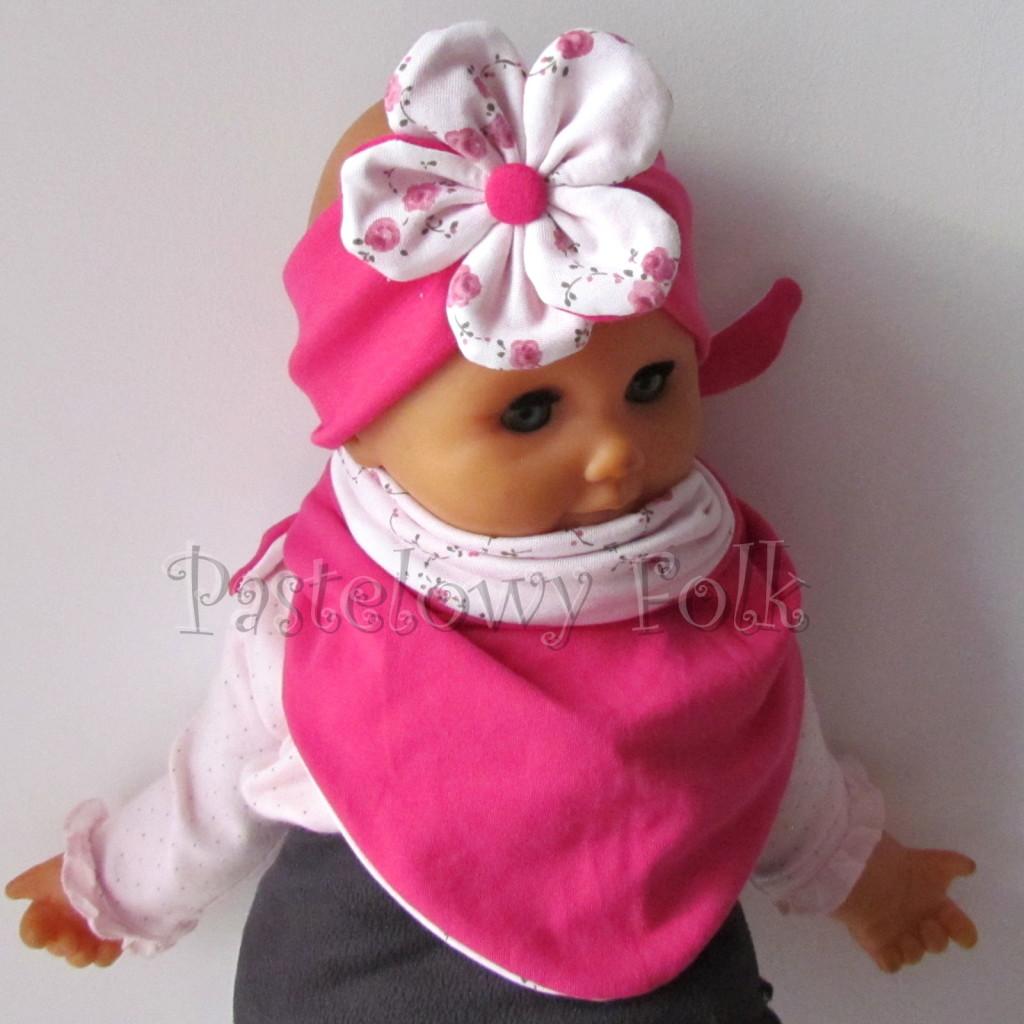 dziecko-opaska 62d- różowa fuksja amarant dwuwarstwowa z kwiatkiem w biale w rozyczki -04