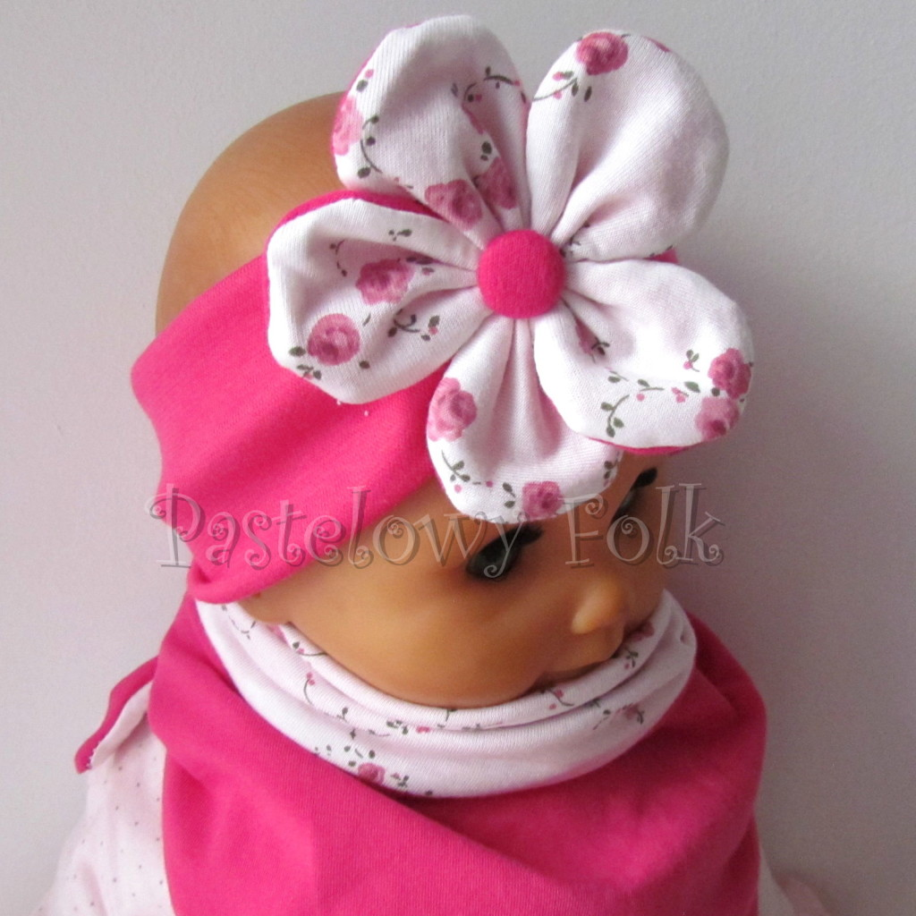 dziecko-opaska 62d- różowa fuksja amarant dwuwarstwowa z kwiatkiem w biale w rozyczki -06
