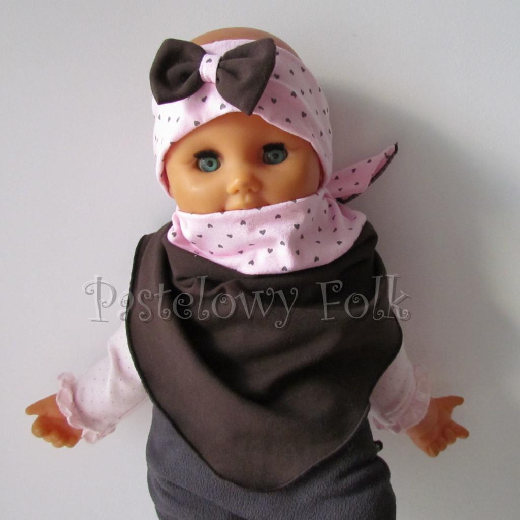 dziecko-opaska 66m- różowa w serduszka brązowe z brazowa kokarda, komin chustka dwustronna komplet -01