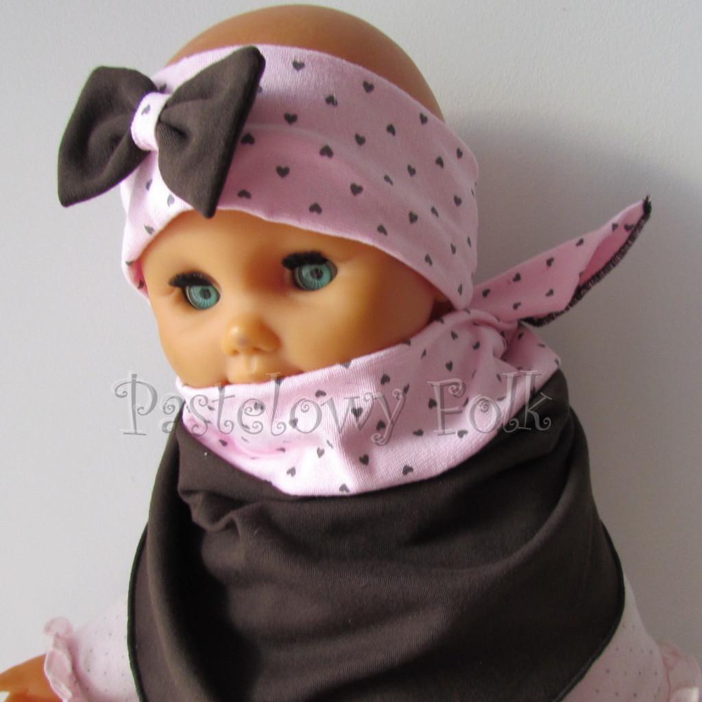 dziecko-opaska 66m- różowa w serduszka brązowe z brazowa kokarda, komin chustka dwustronna komplet -02