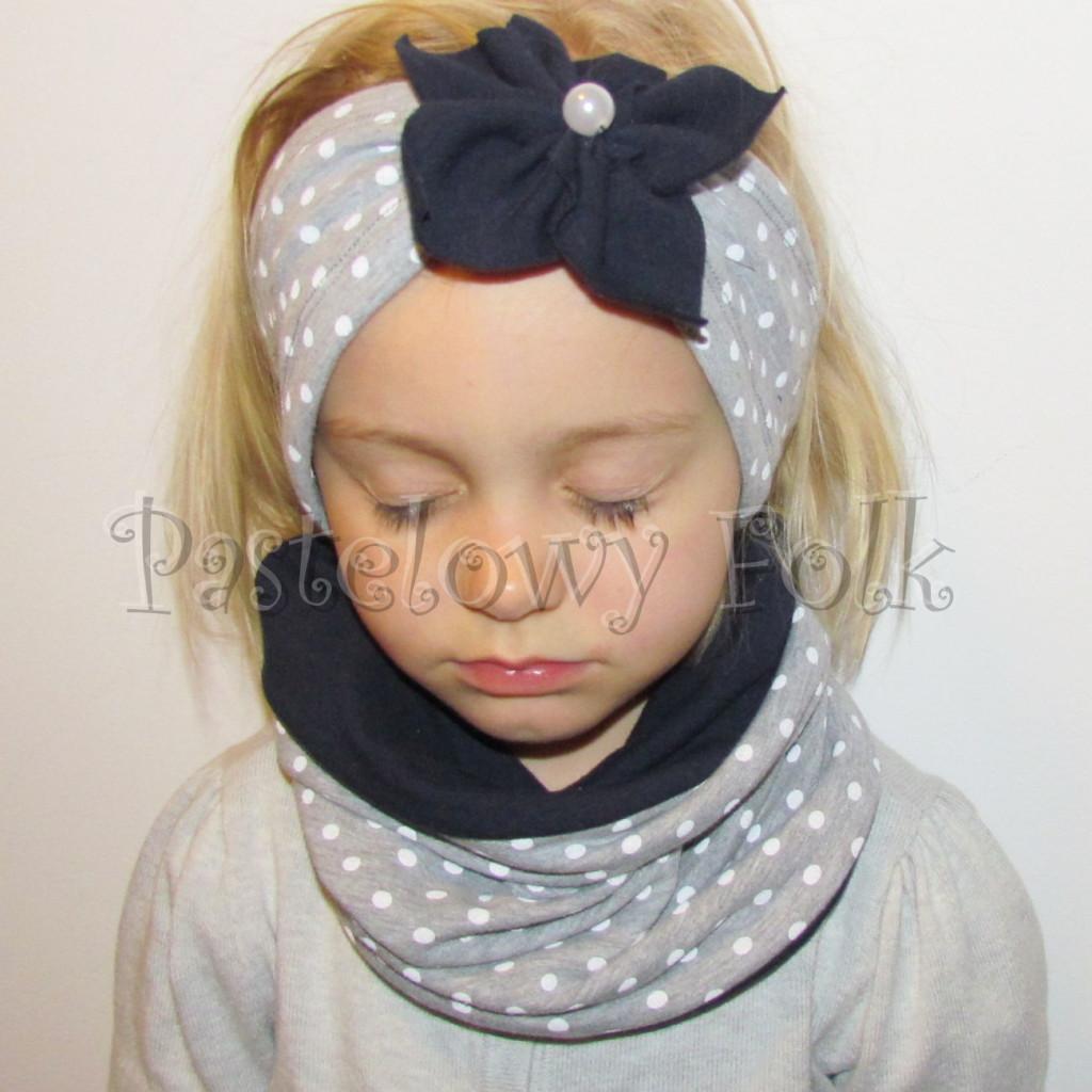 dziecko-opaska 89b- komin czapka komplet, szara w biale kropki groszki z granatowym kwiatem retro -01