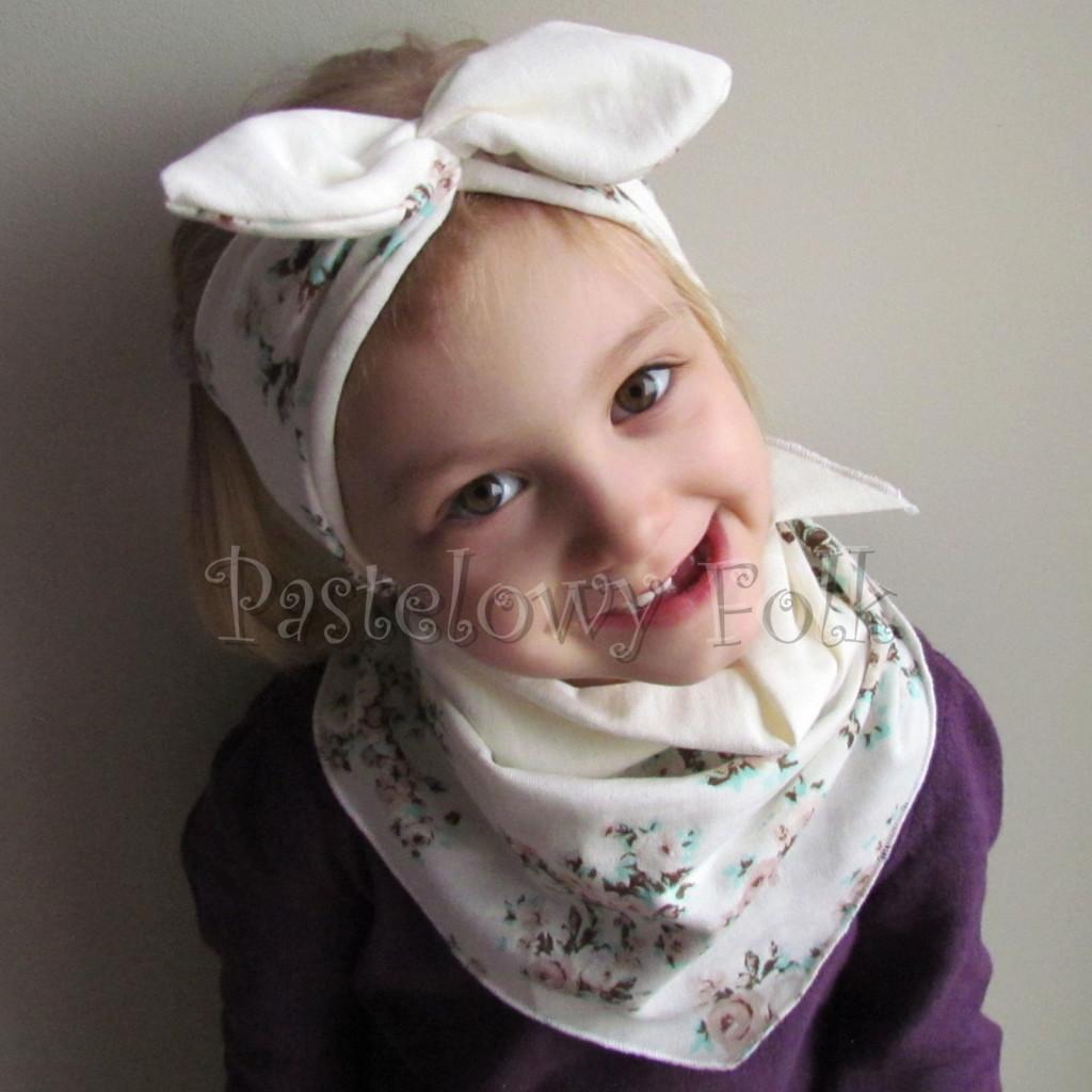 dziecko-opaska 98- dla dziewczynki pastelowa ecru w mietowe brazowe rozyczki z retro kokarda pin up, komplet komin chustka -02