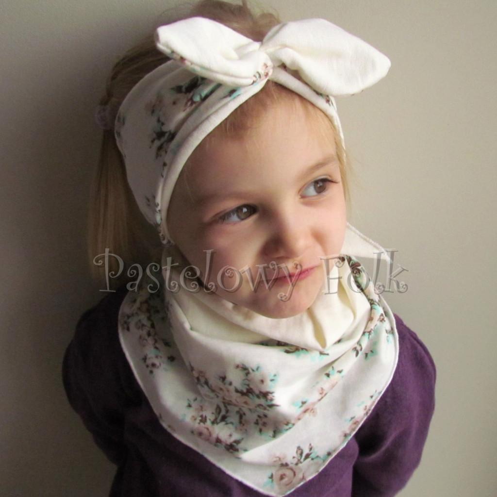 dziecko-opaska 98- dla dziewczynki pastelowa ecru w mietowe brazowe rozyczki z retro kokarda pin up, komplet komin chustka -03