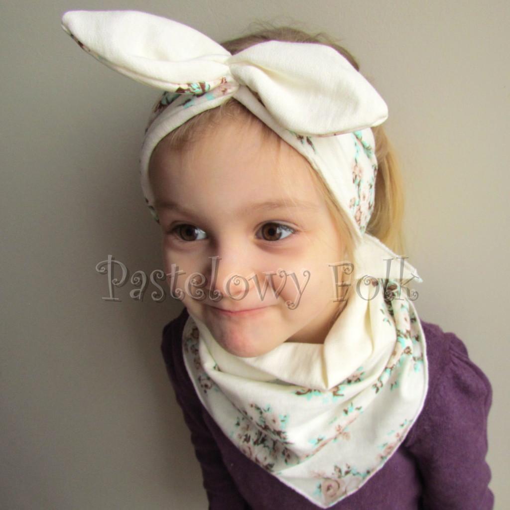 dziecko-opaska 98- dla dziewczynki pastelowa ecru w mietowe brazowe rozyczki z retro kokarda pin up, komplet komin chustka -04