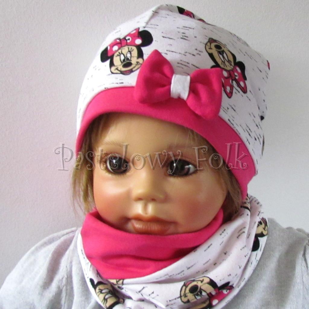 dziecko-czapka-189-biala-czarny-melanz-z-minnie-rozowa-fuksja-z-kokarda-komplet-komin-chustka-01