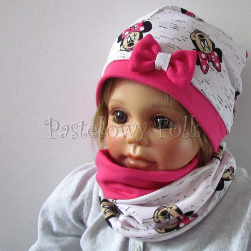 dziecko-czapka-189-biala-czarny-melanz-z-minnie-rozowa-fuksja-z-kokarda-komplet-komin-chustka-02