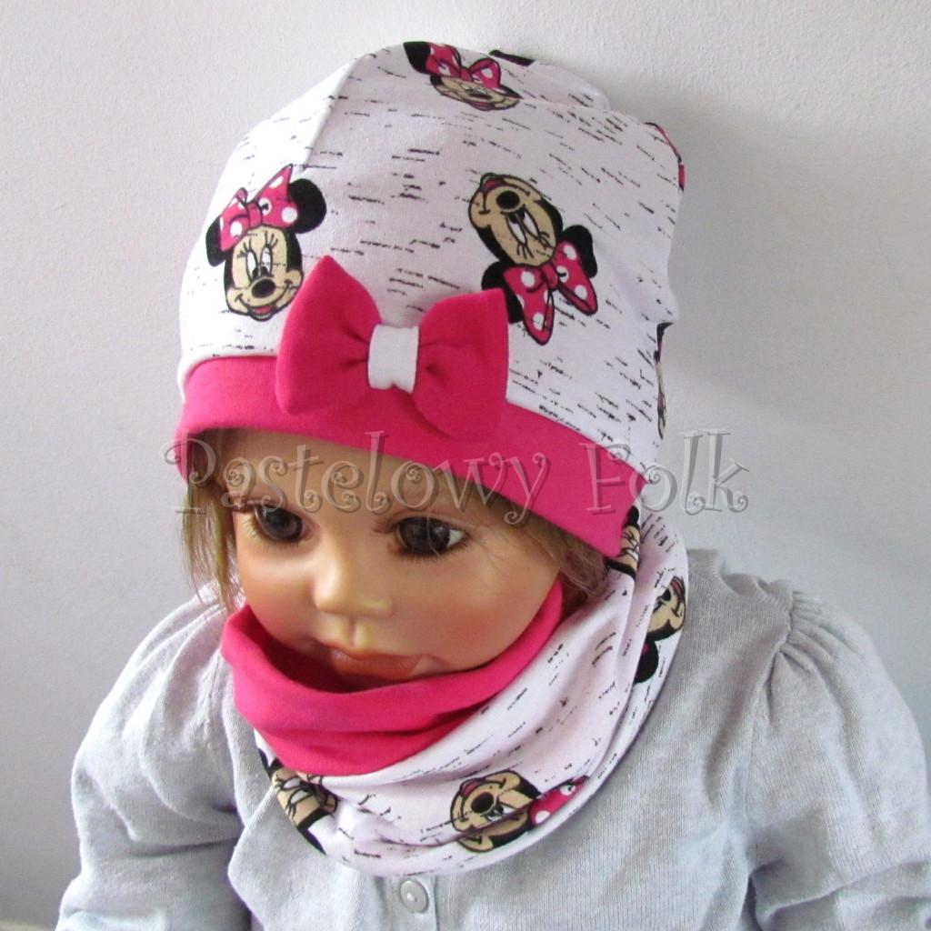dziecko-czapka-189-biala-czarny-melanz-z-minnie-rozowa-fuksja-z-kokarda-komplet-komin-chustka-05