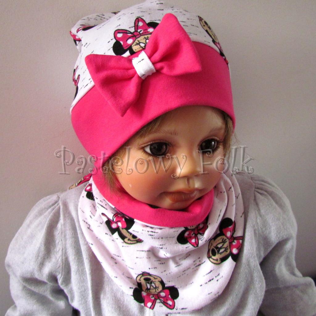 dziecko-czapka-189b-biala-czarny-melanz-z-minnie-rozowa-fuksja-z-kokarda-komplet-komin-chustka-01