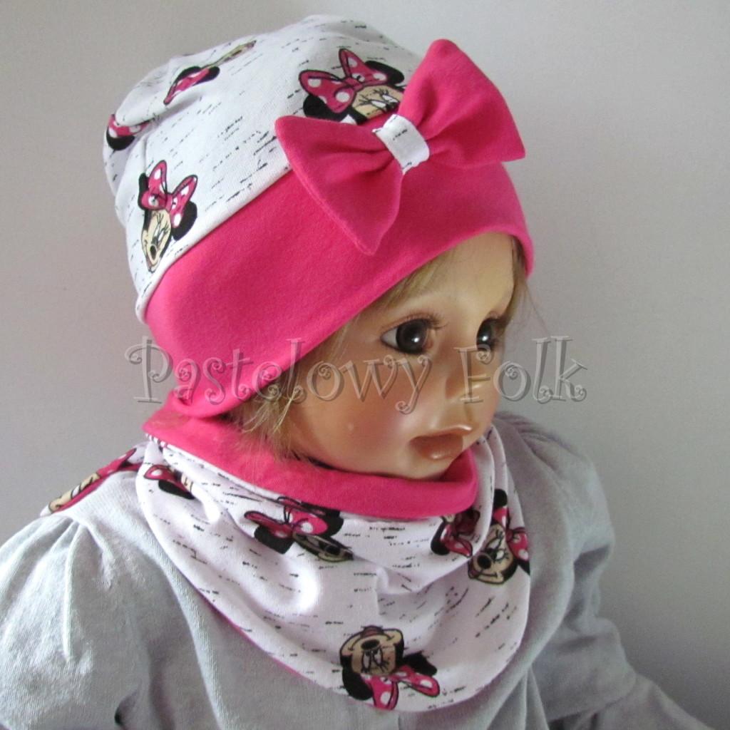 dziecko-czapka-189b-biala-czarny-melanz-z-minnie-rozowa-fuksja-z-kokarda-komplet-komin-chustka-05
