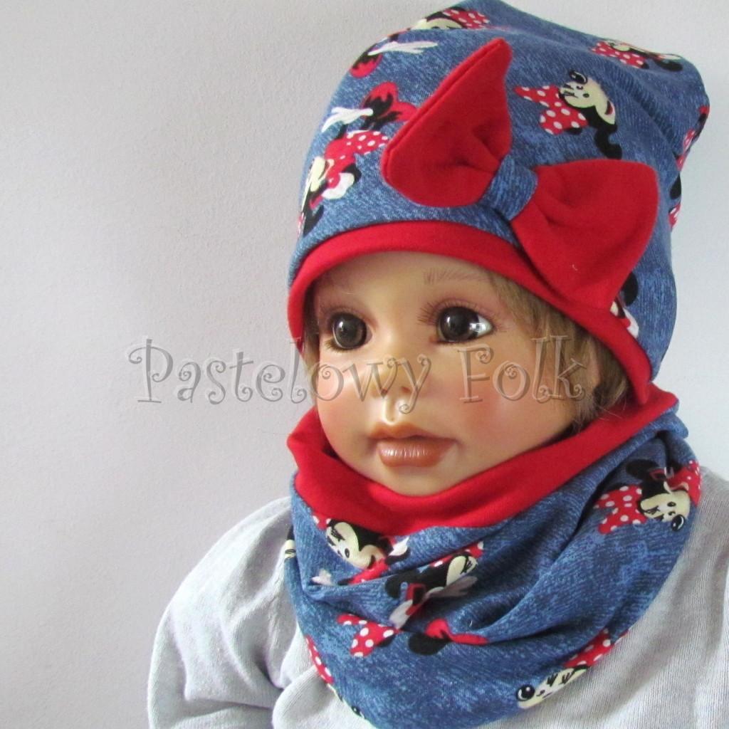 dziecko-czapka-191-granatowa-jeans-niebieski-z-myszka-minnie-i-czerwona-duza-kokarda-dwuwarstwowa-komplet-komin-01