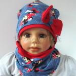 dziecko-czapka-191-granatowa-jeans-niebieski-z-myszka-minnie-i-czerwona-duza-kokarda-dwuwarstwowa-komplet-komin-02