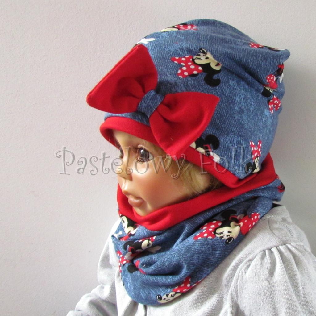 dziecko-czapka-191-granatowa-jeans-niebieski-z-myszka-minnie-i-czerwona-duza-kokarda-dwuwarstwowa-komplet-komin-03