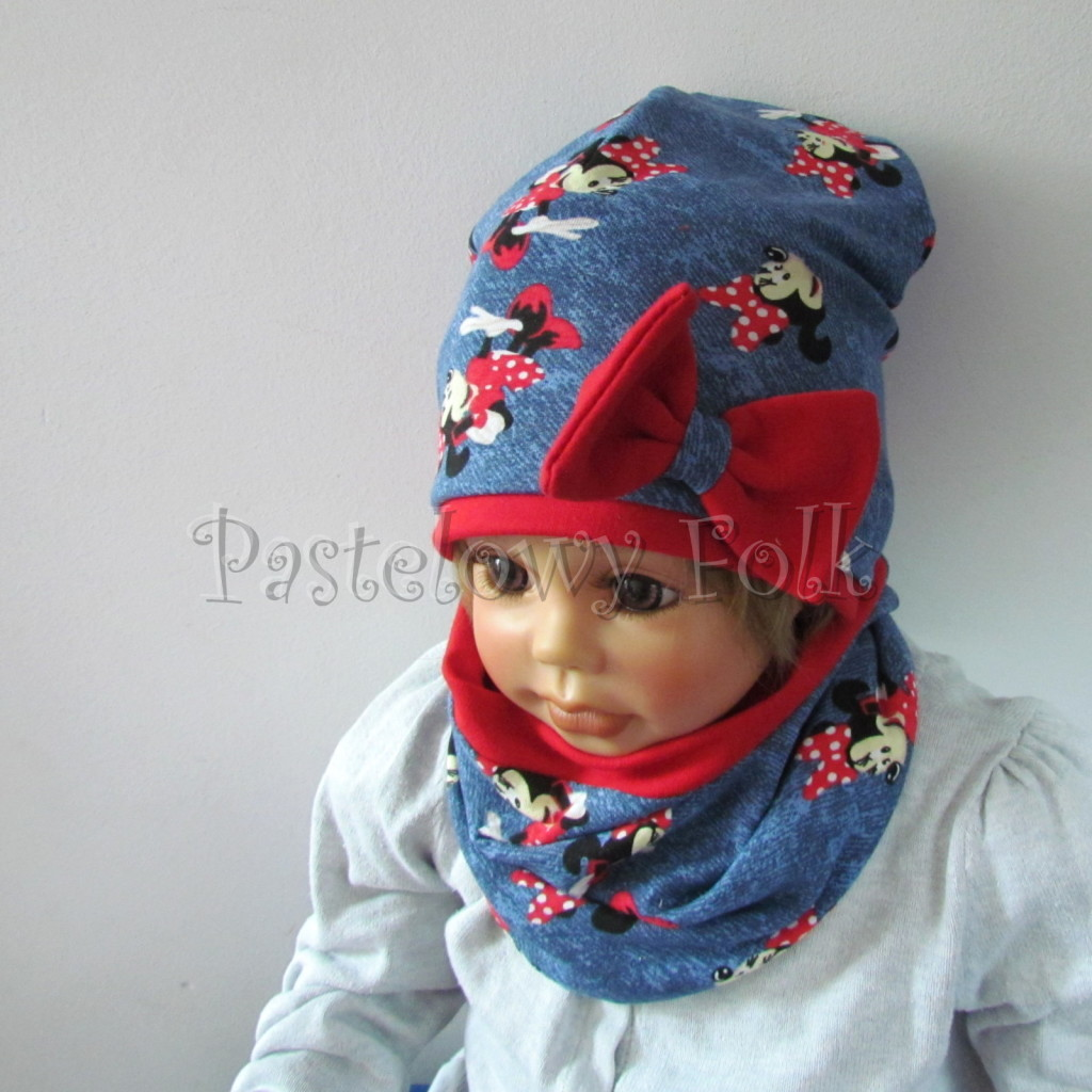dziecko-czapka-191-granatowa-jeans-niebieski-z-myszka-minnie-i-czerwona-duza-kokarda-dwuwarstwowa-komplet-komin-04