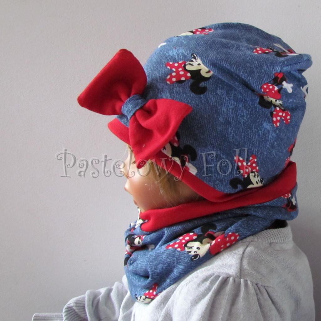 dziecko-czapka-191-granatowa-jeans-niebieski-z-myszka-minnie-i-czerwona-duza-kokarda-dwuwarstwowa-komplet-komin-05