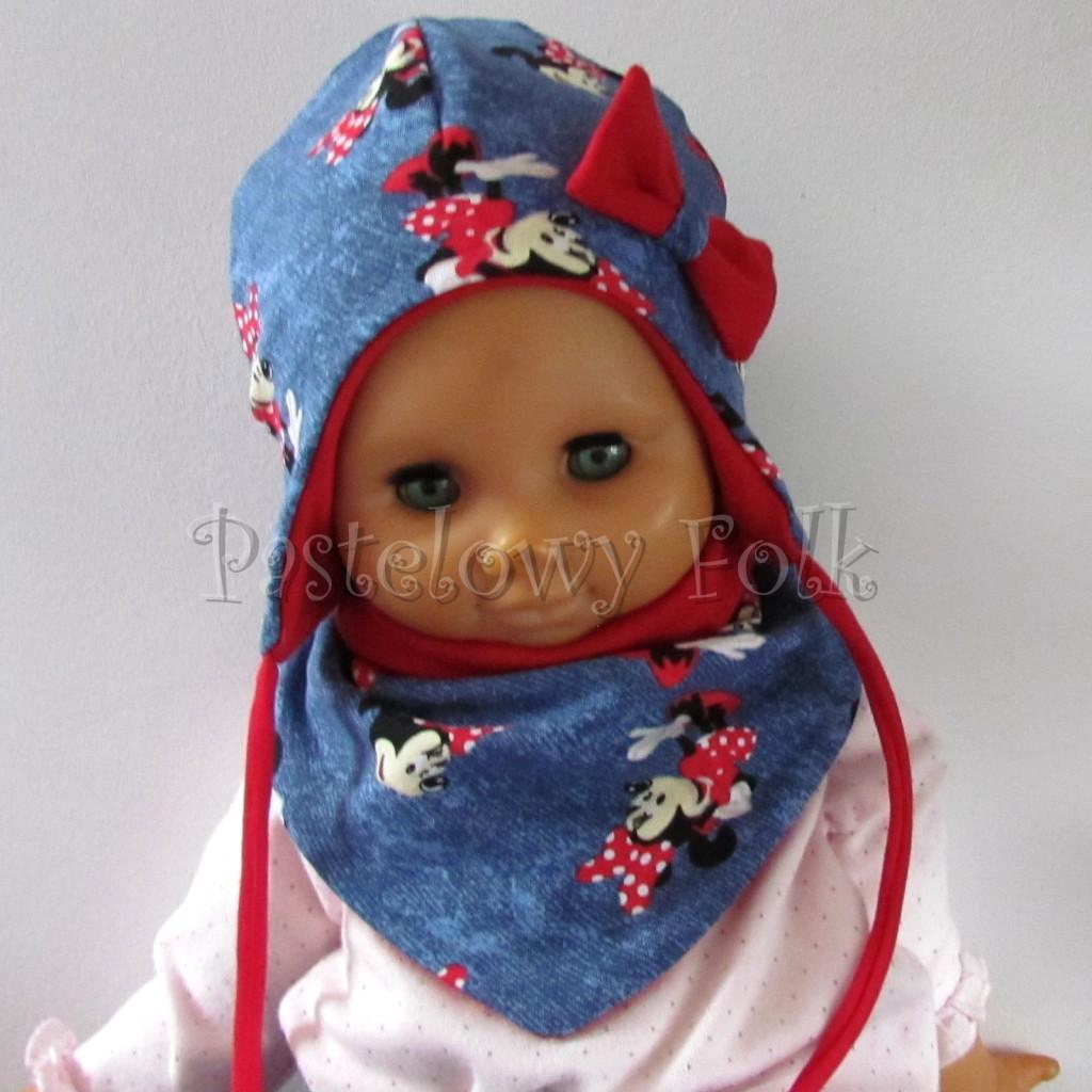 dziecko-czapka-192-granatowa-jeans-niebieski-z-myszka-minnie-i-czerwona-duza-kokarda-niemowleca-profilowana-z-troczkami-wiazana-dwuwarstwowa-komplet-chustka-01
