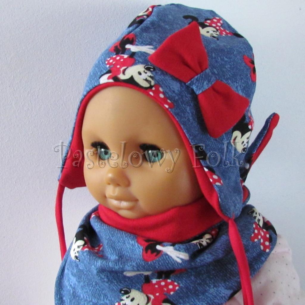 dziecko-czapka-192-granatowa-jeans-niebieski-z-myszka-minnie-i-czerwona-duza-kokarda-niemowleca-profilowana-z-troczkami-wiazana-dwuwarstwowa-komplet-chustka-03