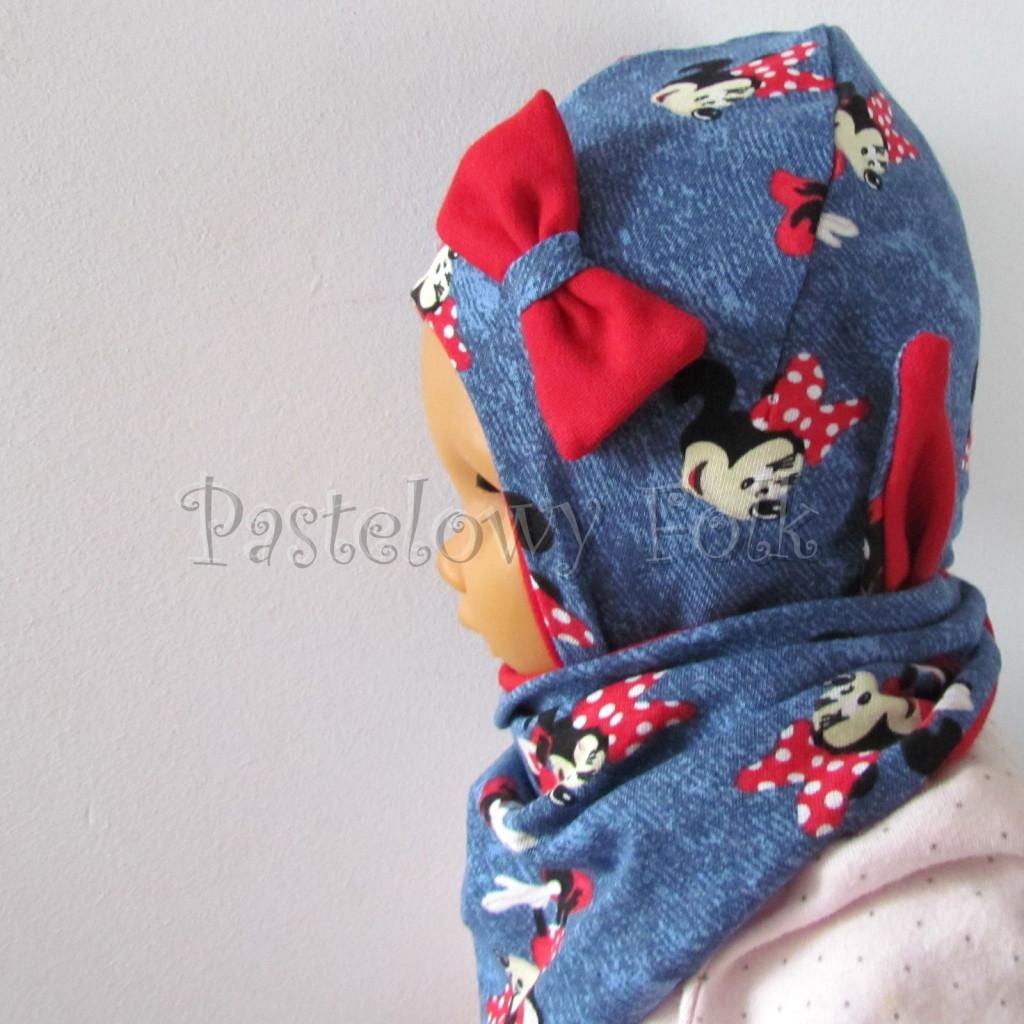 dziecko-czapka-192-granatowa-jeans-niebieski-z-myszka-minnie-i-czerwona-duza-kokarda-niemowleca-profilowana-z-troczkami-wiazana-dwuwarstwowa-komplet-chustka-04