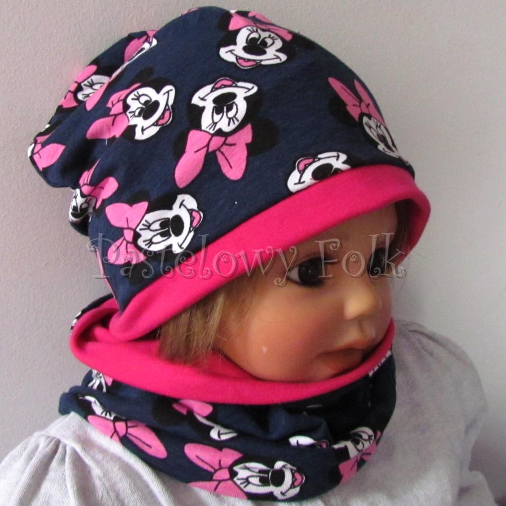 dziecko-czapka-194-granatowa-z-myszka-minnie-ciemnorozowafuksja-dwuwarstwowa-komplet-chustka-01