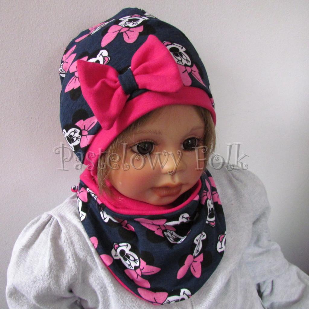 dziecko-czapka-195-granatowa-z-myszka-minnie-z-ciemnorozowa-kokardafuksja-dwuwarstwowa-komplet-chustka-02