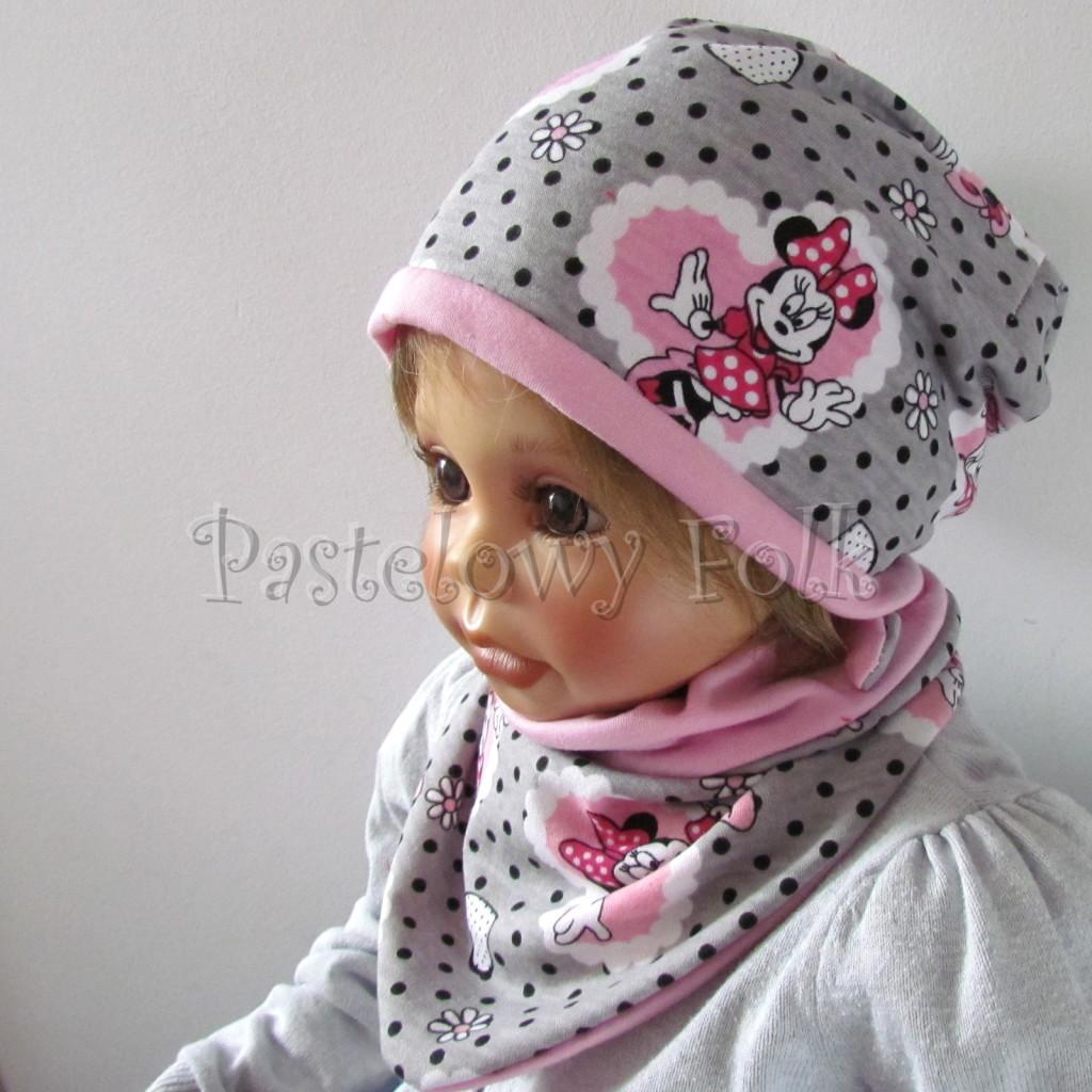 dziecko-czapka-198-szara-w-czarne-kropki-z-myszka-minnie-w-rozowym-sercu-roz-dwustronna-chustka-02