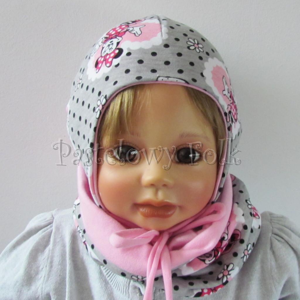 dziecko-czapka-196-szara-w-czarne-kropki-z-myszka-minnie-w-rozowym-sercu-roz-niemowleca-profilowana-z-troczkami-wiazana-dwuwarstwowa-chustka-05