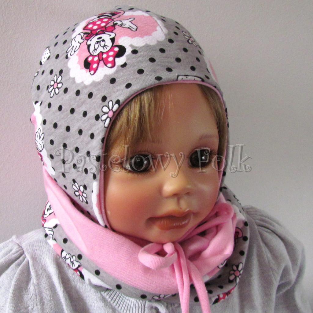 dziecko-czapka-196-szara-w-czarne-kropki-z-myszka-minnie-w-rozowym-sercu-roz-niemowleca-profilowana-z-troczkami-wiazana-dwuwarstwowa-chustka-06