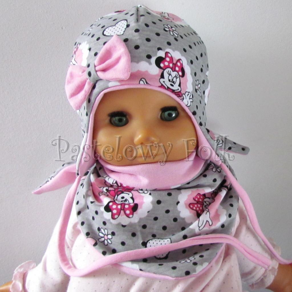 dziecko-czapka-197-szara-w-czarne-kropki-z-myszka-minnie-w-rozowym-sercu-roz-z-kokarda-niemowleca-profilowana-z-troczkami-wiazana-dwuwarstwowa-chustka-01