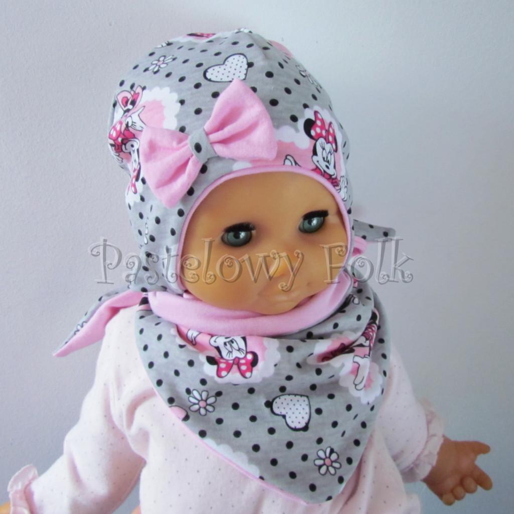 dziecko-czapka-197-szara-w-czarne-kropki-z-myszka-minnie-w-rozowym-sercu-roz-z-kokarda-niemowleca-profilowana-z-troczkami-wiazana-dwuwarstwowa-chustka-04