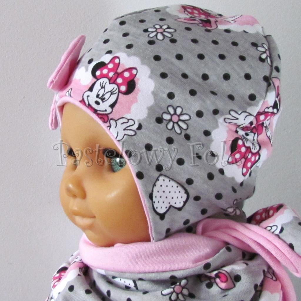 dziecko-czapka-197-szara-w-czarne-kropki-z-myszka-minnie-w-rozowym-sercu-roz-z-kokarda-niemowleca-profilowana-z-troczkami-wiazana-dwuwarstwowa-chustka-05