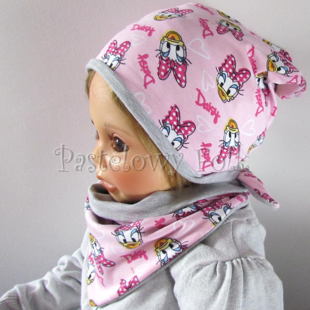 dziecko-czapka-199-rozowa-z-daisy-szara-dwustronna-komplet-chustka-01