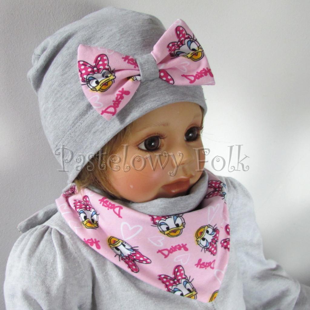 dziecko-czapka-200-szara-z-rozowa-kokarda-z-daisy-komplet-chustka-01