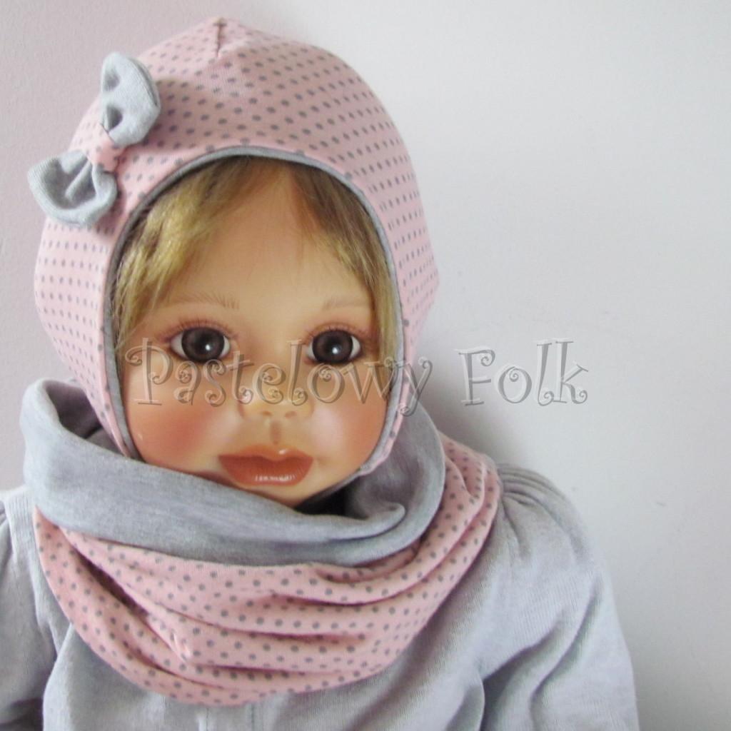 dziecko-czapka-207-rozowa-w-szare-kropki-z-szara-kokardka-niemowle-wiazana-profilowana-jesien-chustka-komin-04
