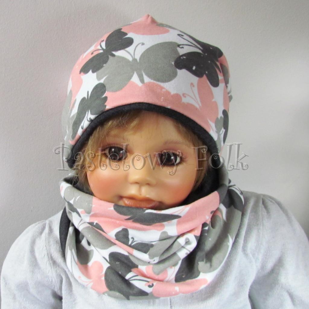 dziecko-czapka-217-biala-w-szare-rozowe-motyle-grafitowa-dwustronna-jesienna-komplet-komin-chustka-01