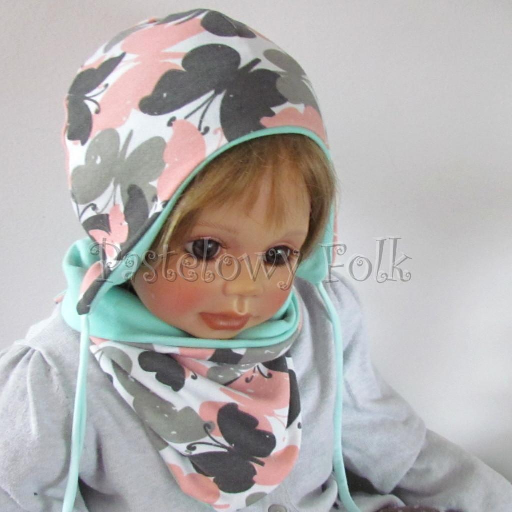 dziecko-czapka-218-biala-w-szare-rozowe-motyle-mietowa-dwustronna-niemowle-jesienna-chustka-01