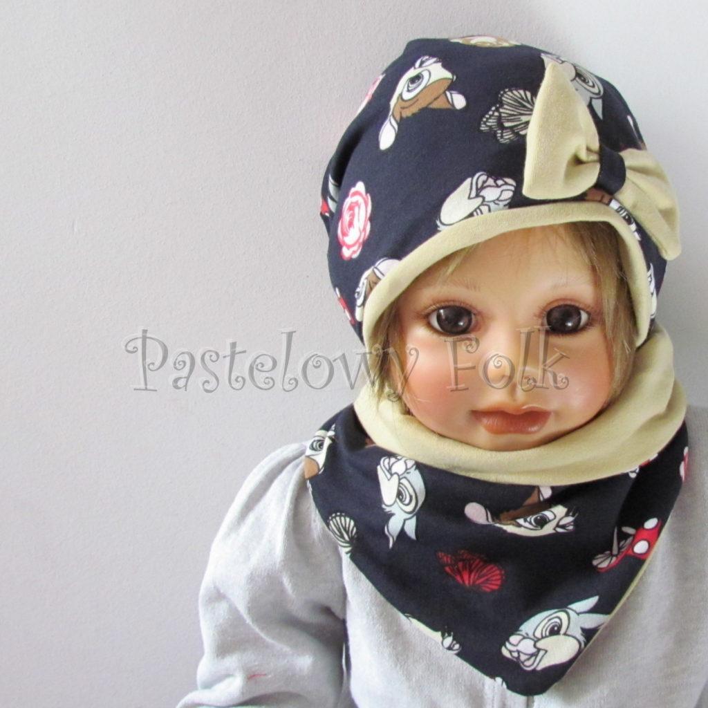 dziecko-czapka-220-granatowa-w-sarenki-bambi-zajaczek-piaskowa-bezowa-kokarda-jesienna-dresowka-chustka-dwustronna-01