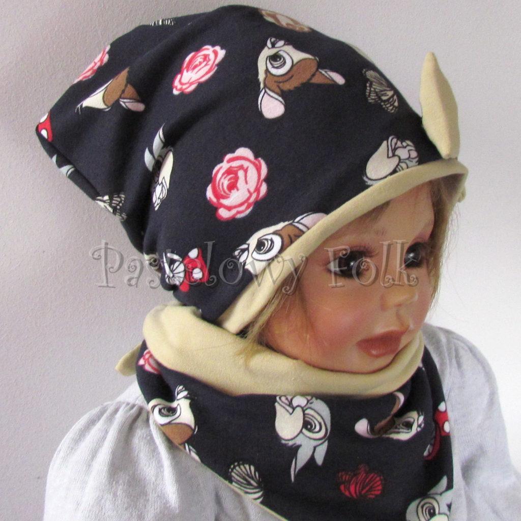dziecko-czapka-220-granatowa-w-sarenki-bambi-zajaczek-piaskowa-bezowa-kokarda-jesienna-dresowka-chustka-dwustronna-04