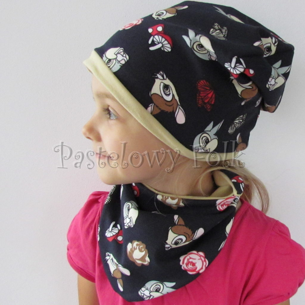dziecko-czapka-221-granatowa-w-sarenki-bambi-zajaczek-piaskowa-bezowa-jesienna-dresowka-chustka-dwustronna-01
