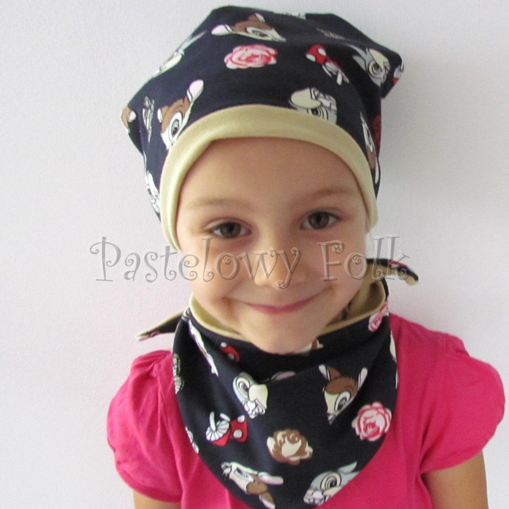 dziecko-czapka-221-granatowa-w-sarenki-bambi-zajaczek-piaskowa-bezowa-jesienna-dresowka-chustka-dwustronna-03