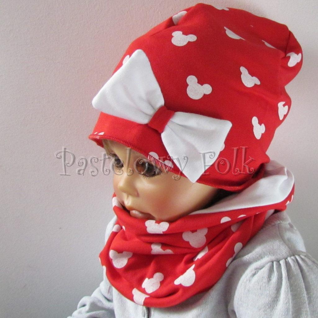 dziecko-czapka-224-czerwona-w-biale-myszki-minnie-z-biala-kokarda-dresowka-komin-chustka-01