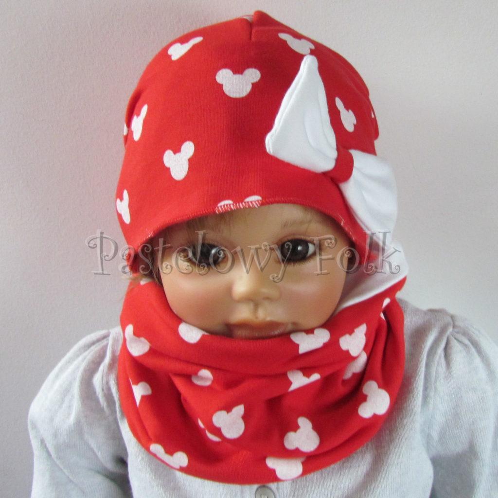 dziecko-czapka-224-czerwona-w-biale-myszki-minnie-z-biala-kokarda-dresowka-komin-chustka-02