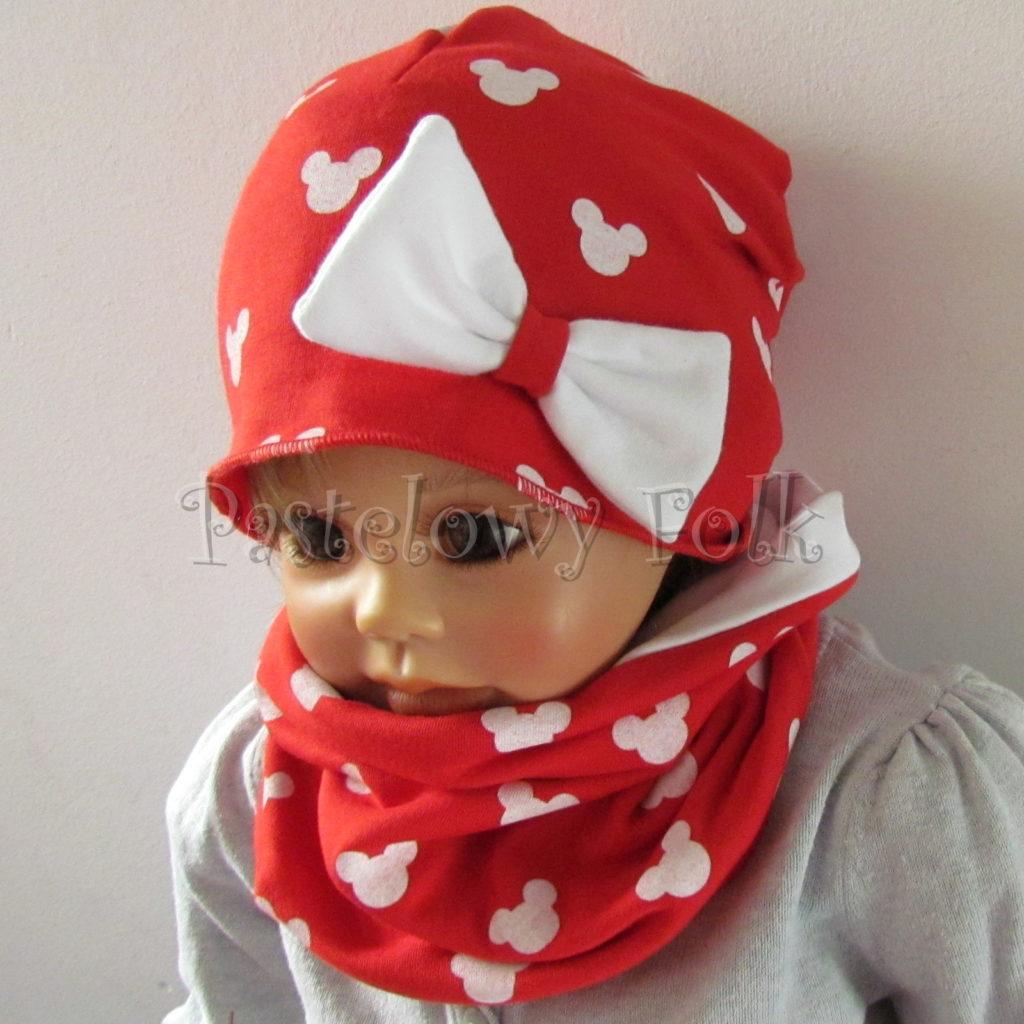 dziecko-czapka-224-czerwona-w-biale-myszki-minnie-z-biala-kokarda-dresowka-komin-chustka-03