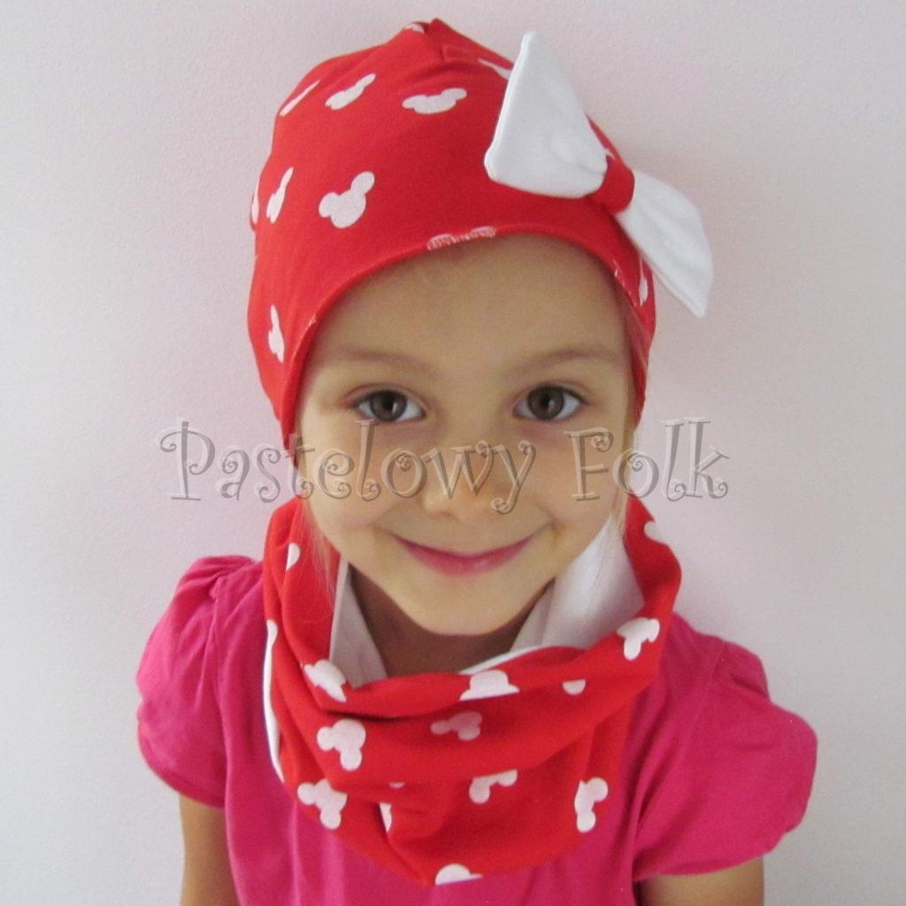 dziecko-czapka-224-czerwona-w-biale-myszki-minnie-z-biala-kokarda-dresowka-komin-chustka-06