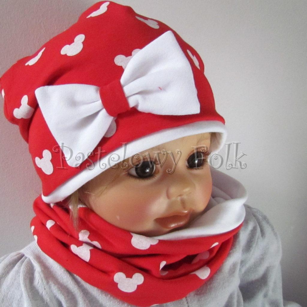 dziecko-czapka-225-czerwona-w-biale-myszki-minnie-z-biala-kokarda-dresowkajesienna-dwuwarstwowa-komin-chustka-01