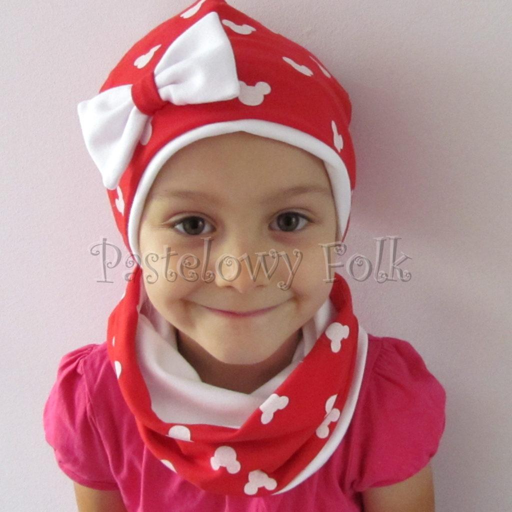 dziecko-czapka-225-czerwona-w-biale-myszki-minnie-z-biala-kokarda-dresowkajesienna-dwuwarstwowa-komin-chustka-03
