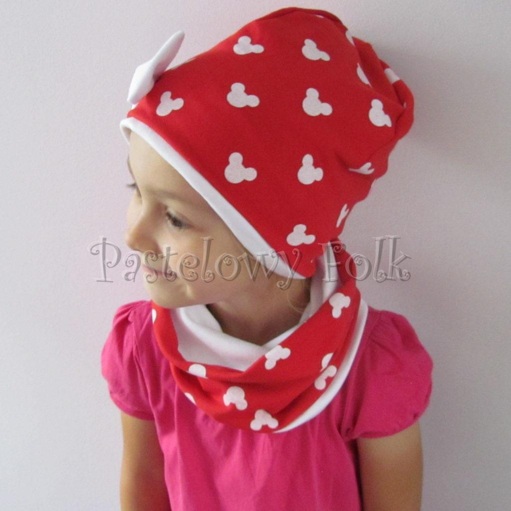 dziecko-czapka-225-czerwona-w-biale-myszki-minnie-z-biala-kokarda-dresowkajesienna-dwuwarstwowa-komin-chustka-04