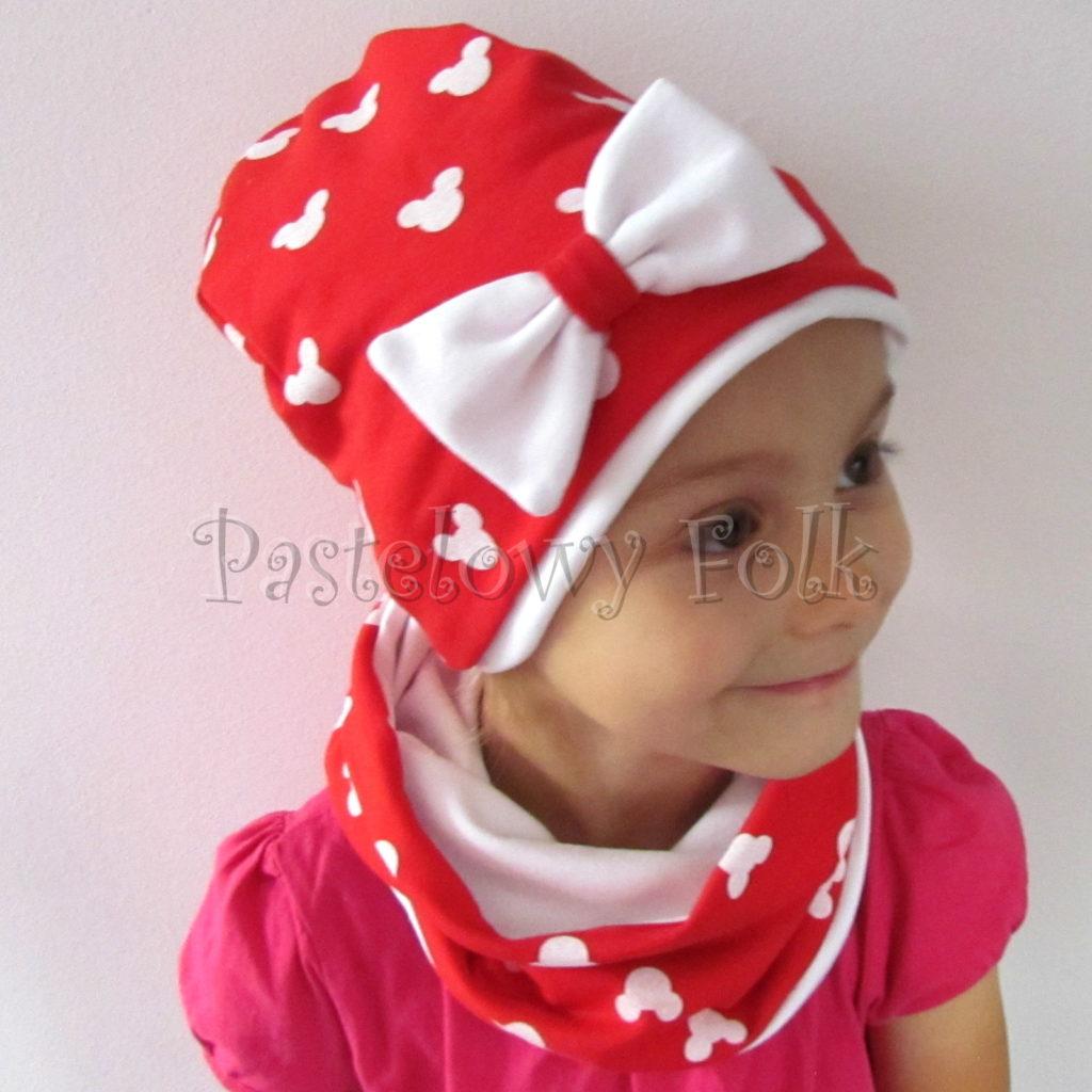 dziecko-czapka-225-czerwona-w-biale-myszki-minnie-z-biala-kokarda-dresowkajesienna-dwuwarstwowa-komin-chustka-05