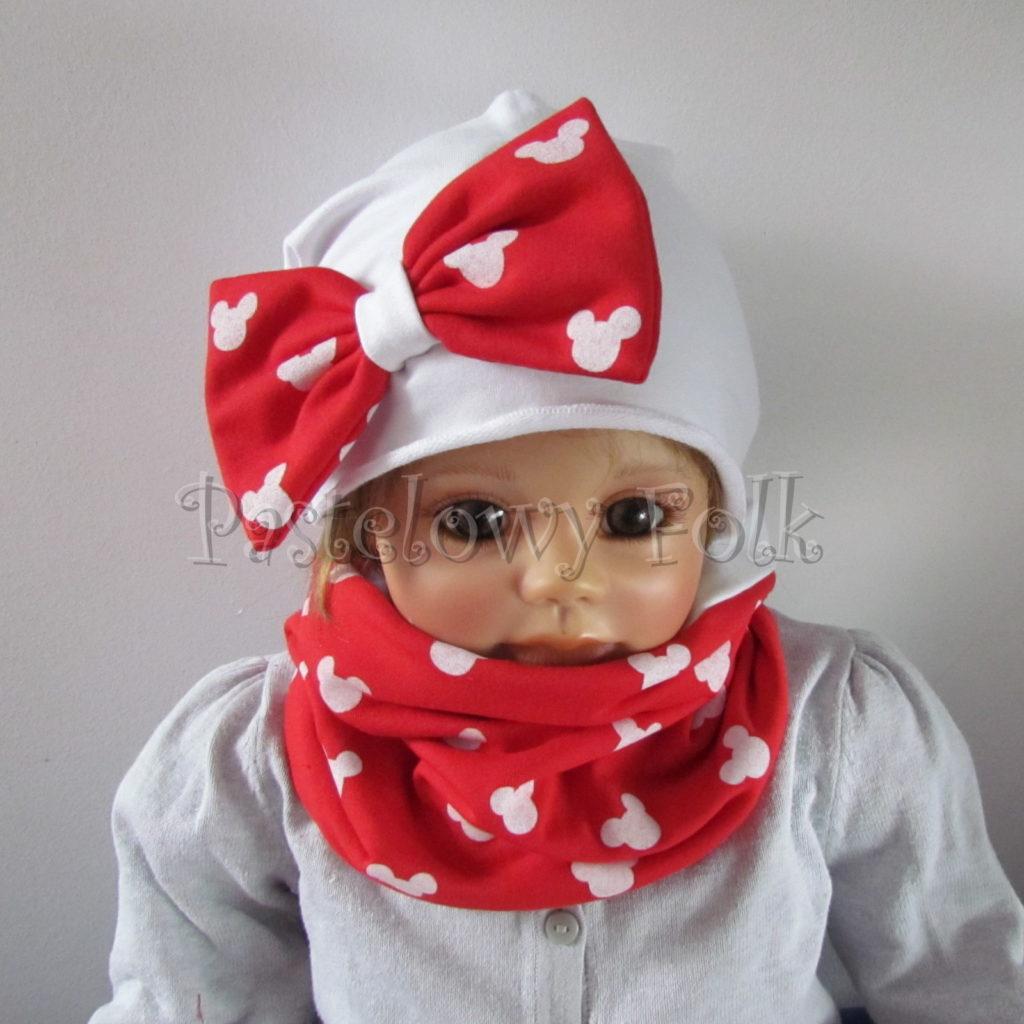 dziecko-czapka-226-biala-z-duza-czerwona-kokarda-w-biale-myszki-minnie-ogromna-komin-chustka-02