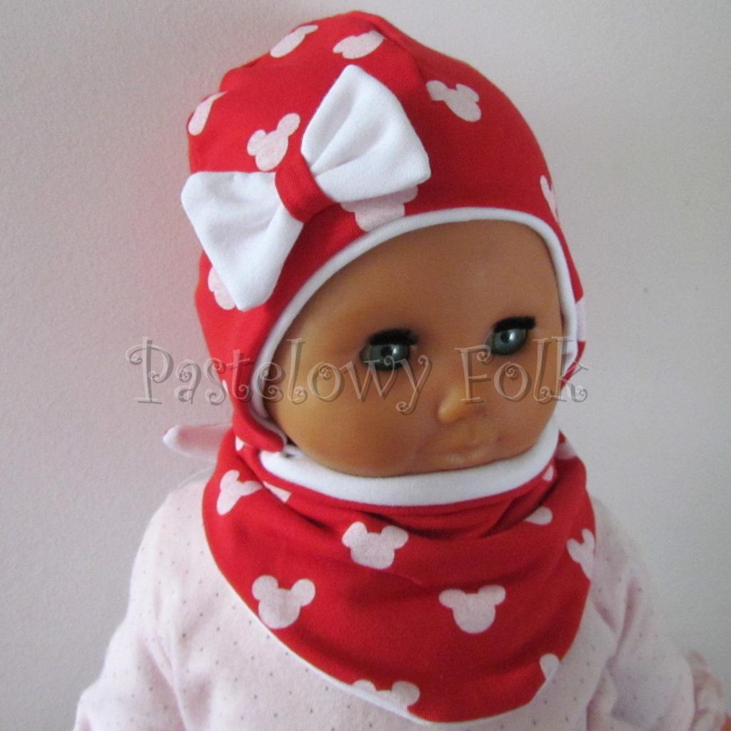 dziecko-czapka-227-czerwona-w-biale-myszki-minnie-z-biala-kokardaniemowleca-profilowana-wiazana-jesienna-dwuwarstwowa-komplet-chustka-02