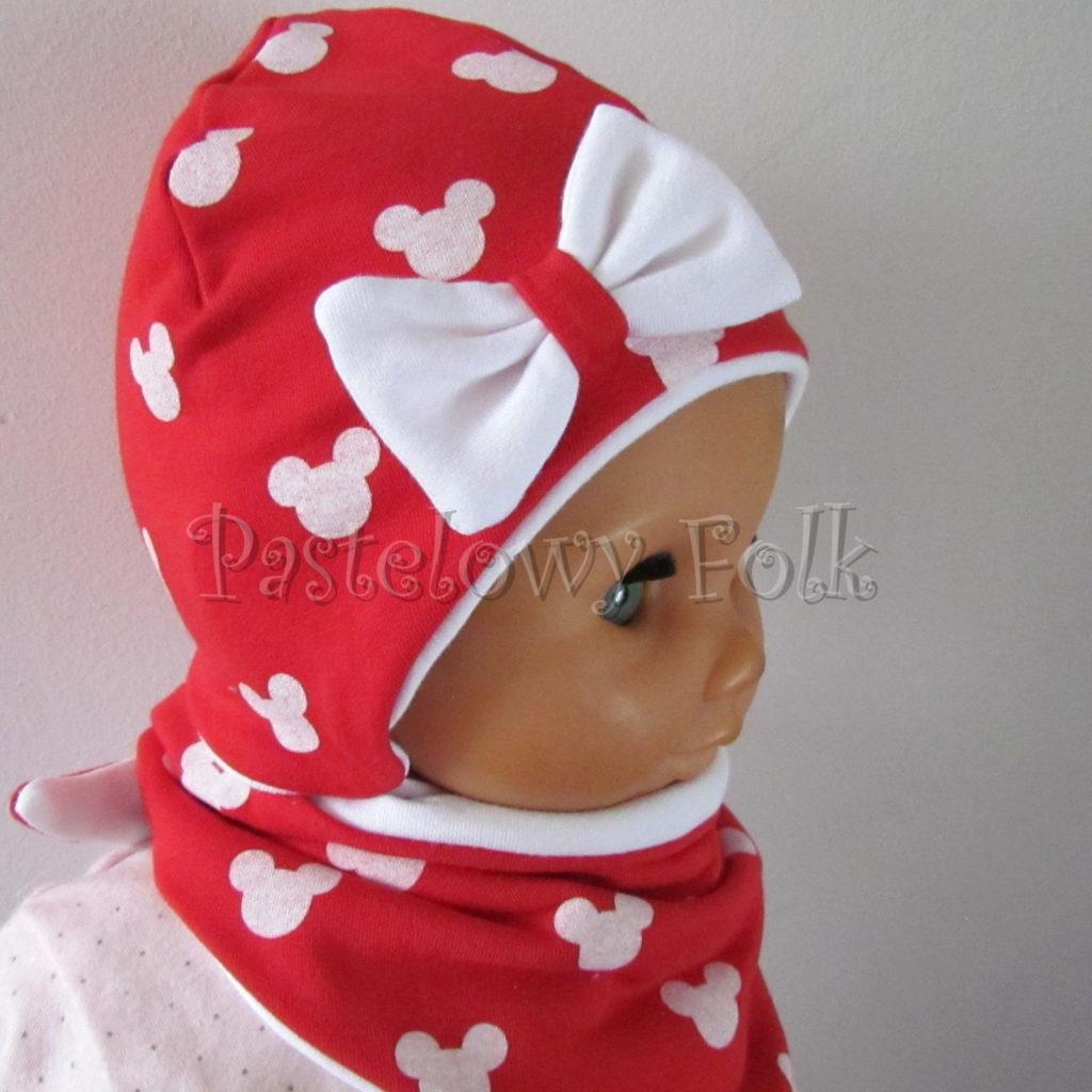 dziecko-czapka-227-czerwona-w-biale-myszki-minnie-z-biala-kokardaniemowleca-profilowana-wiazana-jesienna-dwuwarstwowa-komplet-chustka-03