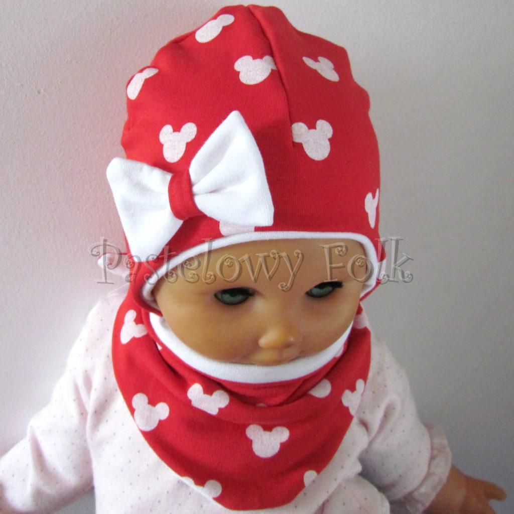 dziecko-czapka-227-czerwona-w-biale-myszki-minnie-z-biala-kokardaniemowleca-profilowana-wiazana-jesienna-dwuwarstwowa-komplet-chustka-04